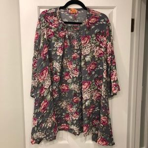Altar'd State grey floral keyhole dress! EUC💕